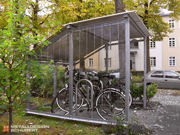 Fahrradgarage Berlin-Lichterfelde VSG Sicherheitsglas Rankanlage Edelstahlseile