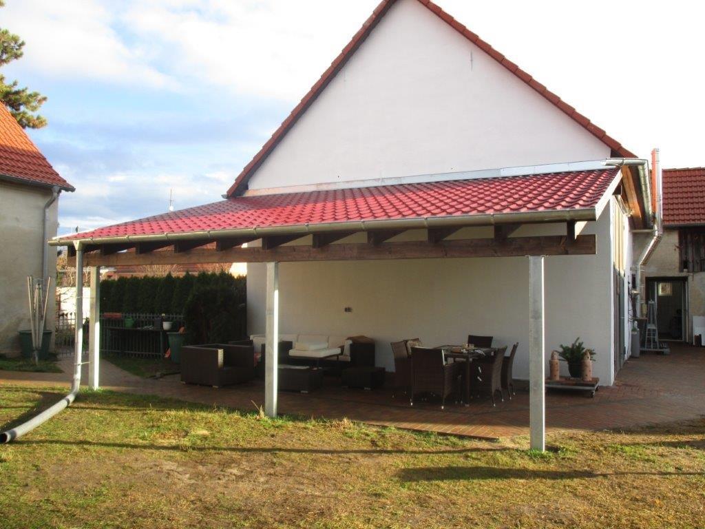Vordach Carport Stahl Holz Dachpfannenblech Ziesar
